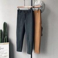 Wollen doek stof verdikte vrouwen harembroek 2018 winter nieuwe casual vrouwen pocket elastische broek broek negen broek