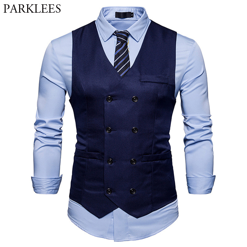 Brand Mens Double Breasted Suit Vest 2018 Fashion Slim Fit Sleeveless Waistcoat Men Business Wedding Vests Gilet Costume Homme
