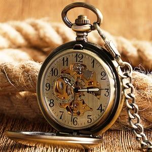 Image 2 - Kendini rüzgar cep saati bakır moda bronz kolye pürüzsüz Retro İskelet Unisex otomatik mekanik şık şükran hediye