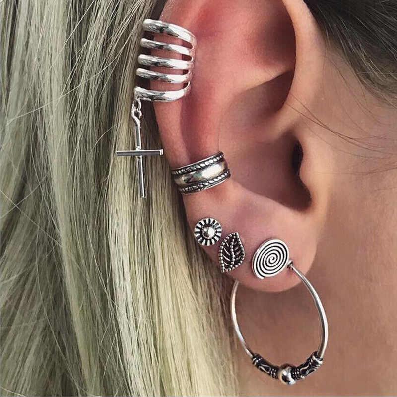 بوهيميا الفضة اللون مجوهرات قرط كبس قرط الاذن المرصع هندسية ريشة ليف البومة أقراط للنساء
