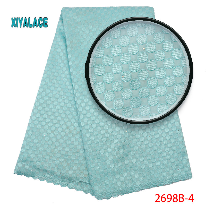2019 High Quality Stones Swiss Voile Lace In Switzerland Nigerian Lace Fabric African Cotton Swiss Voile Lace Fabric YA2698B-4