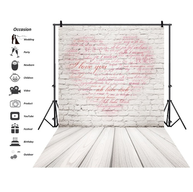 Gray Brick Wall Love Heart Pattern Wooden Floor Photography Backdrop for Pet Photography Backgrounds Cakes Photos Studio