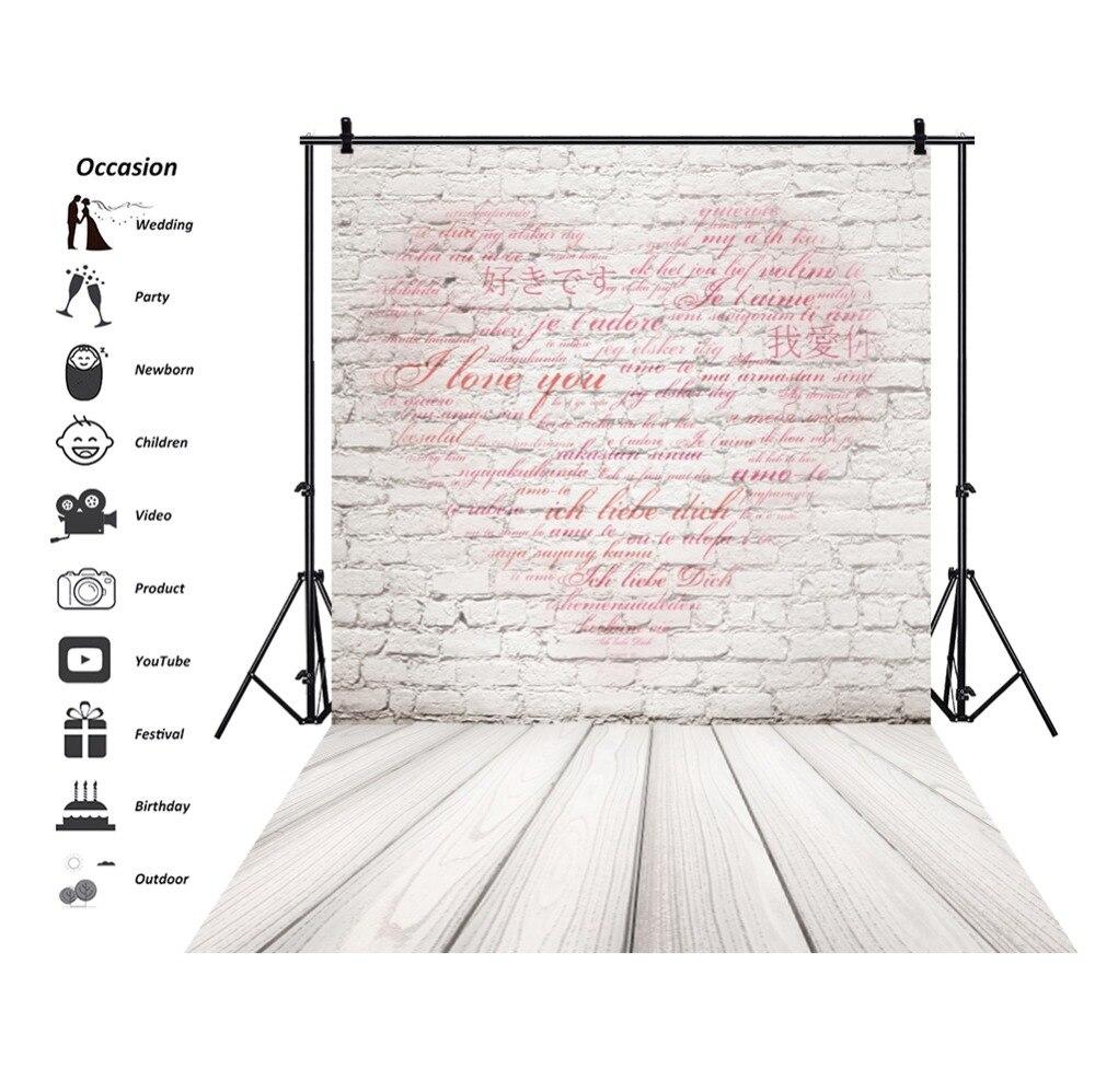Parede de tijolos cinza amor coração padrão piso de madeira fotografia pano de fundo para animais de estimação fotografia fundos bolos fotos estúdio