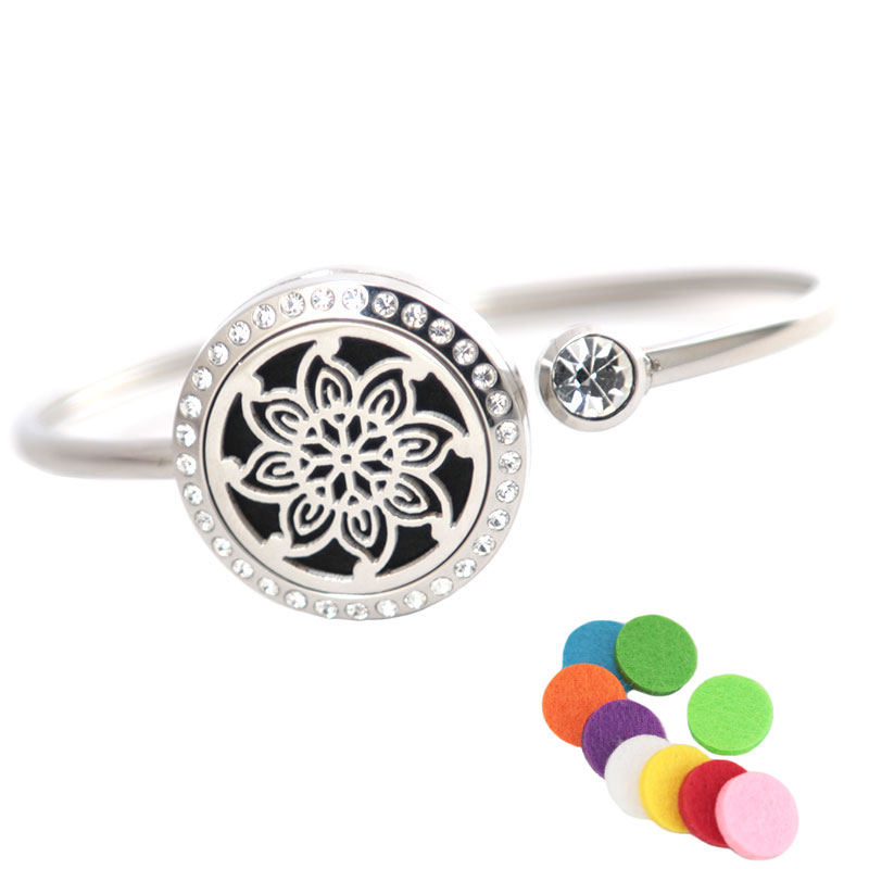 10Pcs Fashion Flower Bracelet Bangle Aromatherapy 25mm Magnet Crystal Stainless steel essential oil diffuser locket bracelet