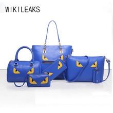 Wikileaksbrand bolso de las mujeres 6 sets moda impreso bolso de mano de cuero artificial grande de hombro de las señoras monederos y bolsos