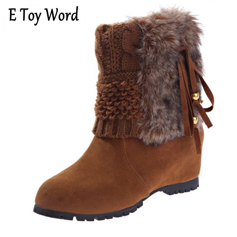 E TOY WORD Boots Women Fashion Autumn Martin Boots Warm Women Shoes Ankle Boots For Women Winter Botas Mujer Wedges Ankle Boots e toy word fashion ankle boots women spring autumn shoes women lace up solid boots female height increasing platform botas mujer