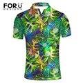 FORUDESIGNS Мужчины рубашку Гавайи пляж досуг мода цветочные рубашки тропические моря рубашки марка camisas polo для летнего отдыха