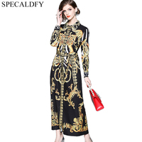 Runway Dresses Women 2018 High Quality Luxury Brand Print Casual Shirt Dresses Party Long Maxi Dress Spring Robe Femme Habille