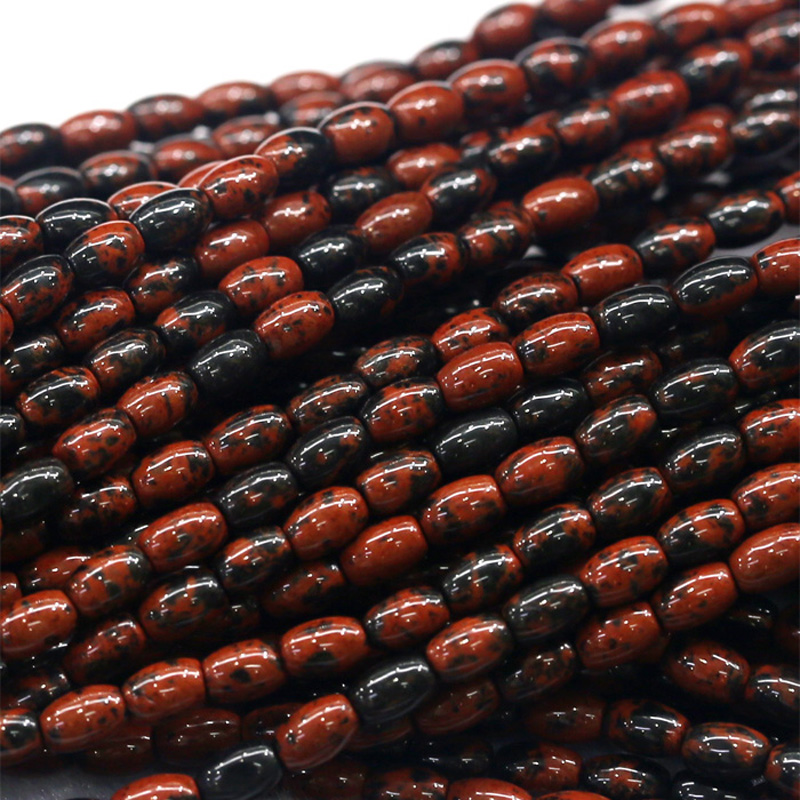 """Natural Genuine Black Red Mahogany Obsidian Rice Shape Oval Loose Beads 4-12mm Fit Jewelry DIY Necklace Or Bracelets 15"""" 03827"""
