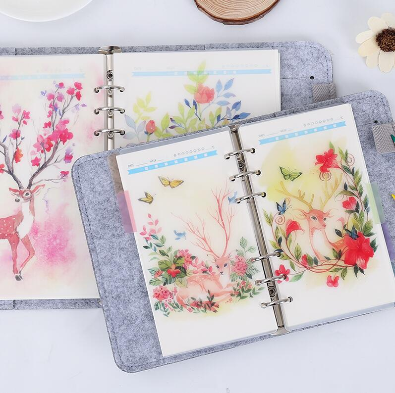 все цены на 5pc/set Diary Notebook Accessories Hot Creative Retro A5/A6 Deer Spiral Dividers Planner Filler Paper Matching Dokibook Filofax онлайн