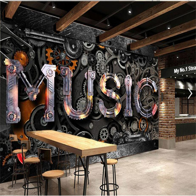 Bar Wallpaper: Beibehang Custom 3d Wallpaper Retro Metal Gear MUSIC Bar