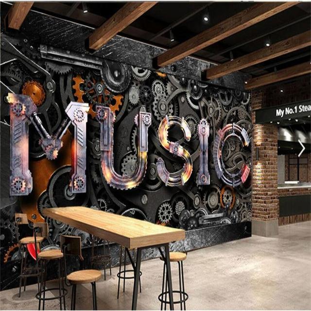 Beibehang Custom 3d Wallpaper Retro Metal Gear MUSIC Bar TV Background Living Room Bedroom Wall