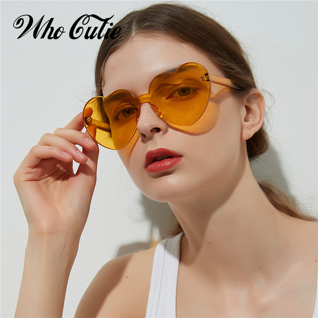 9fb8266475 WHO CUTIE 2018 Vintage Heart Shape Sunglasses Women Brand Design Rimless  Frame Sun Glasses Purple Red