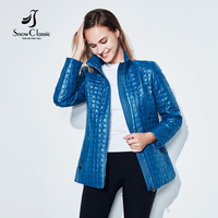 SnowClassic חדש סתיו נשים ז 'קט קצר מעיל חם להאריך ימים יותר מעיל מרופד כותנה אופנה בגדי נשים באיכות גבוהה 2017