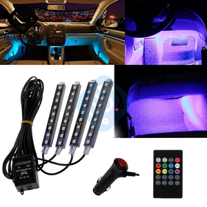 Auto Interni RGB Color 9 LED Strip Light Kit Wireless Music Control Automatic Controller 7 color For Atmosphere(China)