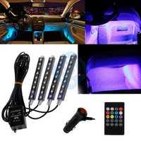 Auto Interni RGB Color 9 LED tira de luz Kit Control de música inalámbrico Control Automático 7 colores para atmósfera