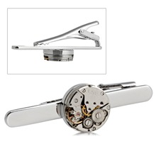 Fashion Steampunk Men's Tie Clip Vintage Watch Movement Tie Clasp Tack Silver -m15