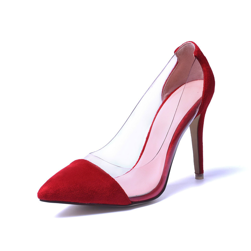 New Fashion Women Shoes Transparent Sexy High Heel Shoes Women Red Clear Wedding Shoes Sexy
