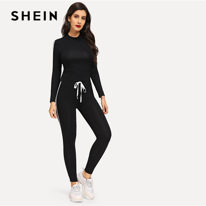 SHEIN Athleisure Black Round Neck Striped Top Drawstring Waist Plain Pants Sets Women Spring Active Wear Sporting Two Piece Set 2