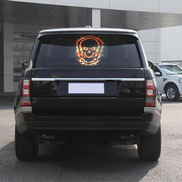 28 8cm39 7cm red skull car sticker music rhythm led flash lamp sound activated