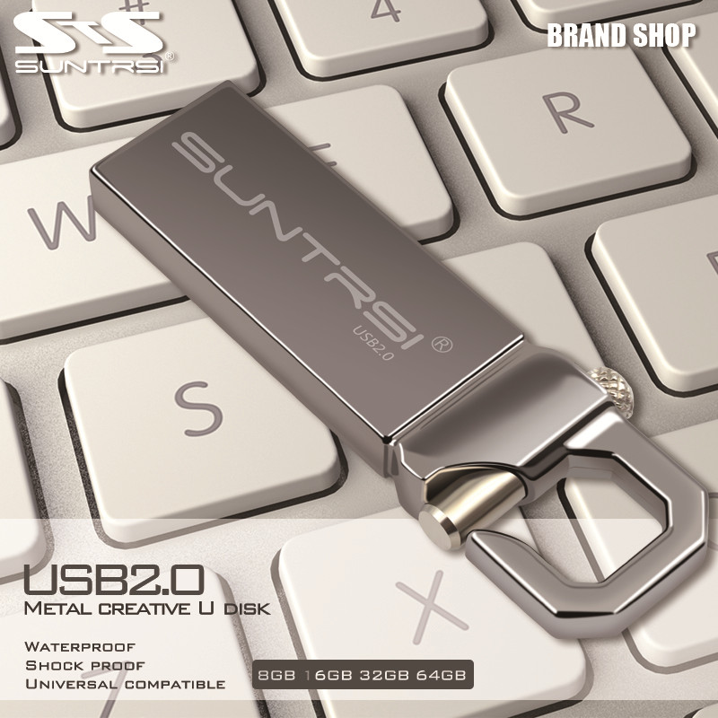 Suntrsi 32GB USB Flash Drive 2pieces/lot Pendrive Metal USB 2.0 Flash Drive High Speed usb stick Real Capacity free shipping