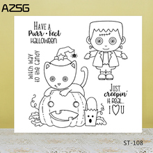 AZSG Halloween Style Lovely Cat Ghost Clear Stamps/Seals For DIY Scrapbooking/Card Making/Album Decorative Silicone Stamp Crafts