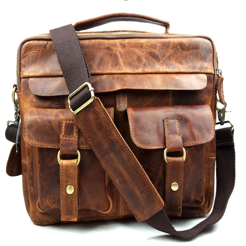 Aliexpress.com : Buy Baigio Men Genuine Leather Bag Vintage Brown ...