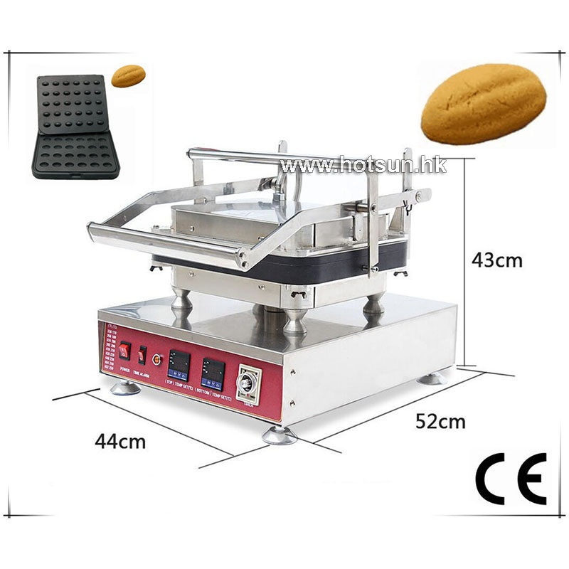 Free Shipping Commercial Non-stick 110V 220V Electric 30pcs Oval Walnut Peach Nuclear Waffle Maker Machine with Removable Plate free shipping professional non stick 110v 220v electric 12pcs round circle waffle cake maker machine with removable plate
