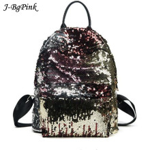 Sequin Backpack Women PU Leather Embroidered Sequins College Bag Female Party Bling Mohila Rucksack feminina