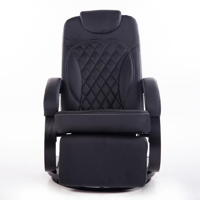 Große Leder Wohnzimmer Stuhl Sessel Ergonomische Swivel Liege Stuhl  Modernen Büro Sessel Holz Basis Schwarz Finish
