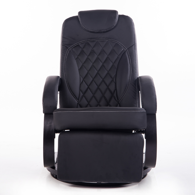 Large Leatehr Living Room Chair Armchair Ergonomic Swivel Recliner Chair  Modern Reclining Office Armchair Wood Base