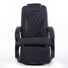 Large Leather Living Room Chair Armchair Ergonomic Swivel Recliner Chair Modern Reclining Office Armchair Wood Base