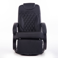 Large Leather Living Room Chair Armchair Ergonomic Swivel Recliner Chair Modern Reclining Office Armchair Wood Base Black Finish