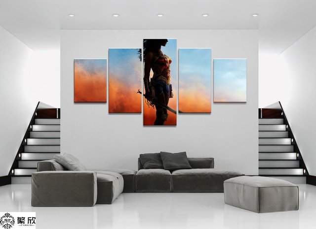 Wonder Woman Wall Art aliexpress : buy 5 panel dc wonder woman movie canvas printed