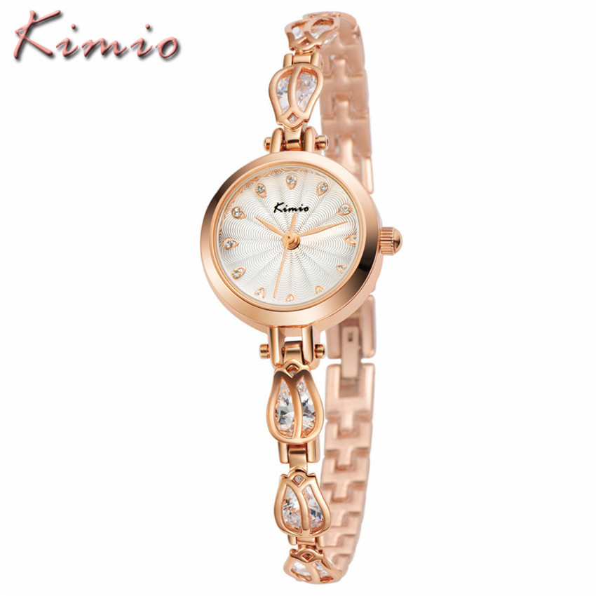 Relojes Mujer KIMIO Luxury Brand Women Watches Fashion Dress Ladies Flowers Steel Bracelet Clock Quartz Watch Relogio Feminino