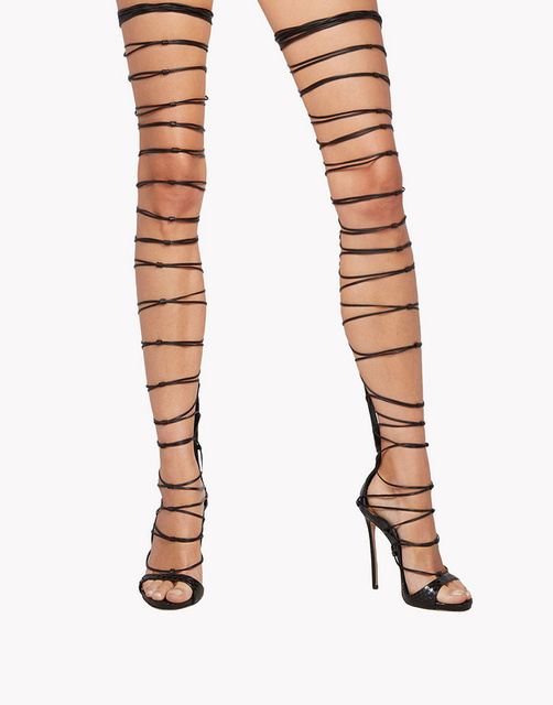 48d83ec21a23 Sexy Lace Up Over Knee High Gladiator Sandals Back Zipper High Heels Cross Strappy  Stiletto Thigh High Summer Boots Shoes Woman