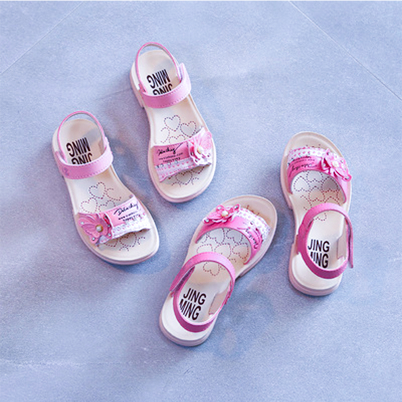 2018 Summer New Sandals Pink Butterfly Fashion Flashing Light Princess Shoes Girls Boys Fashion Breathable Soft Flats Sandals