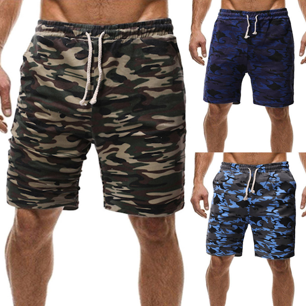 Friendly Mens Sport Casual Shorts Comfortable Sweatpants Sport Drawstring Summer Workout Fitness Gym Mens Camouflage Military Shorts 037 Casual Shorts