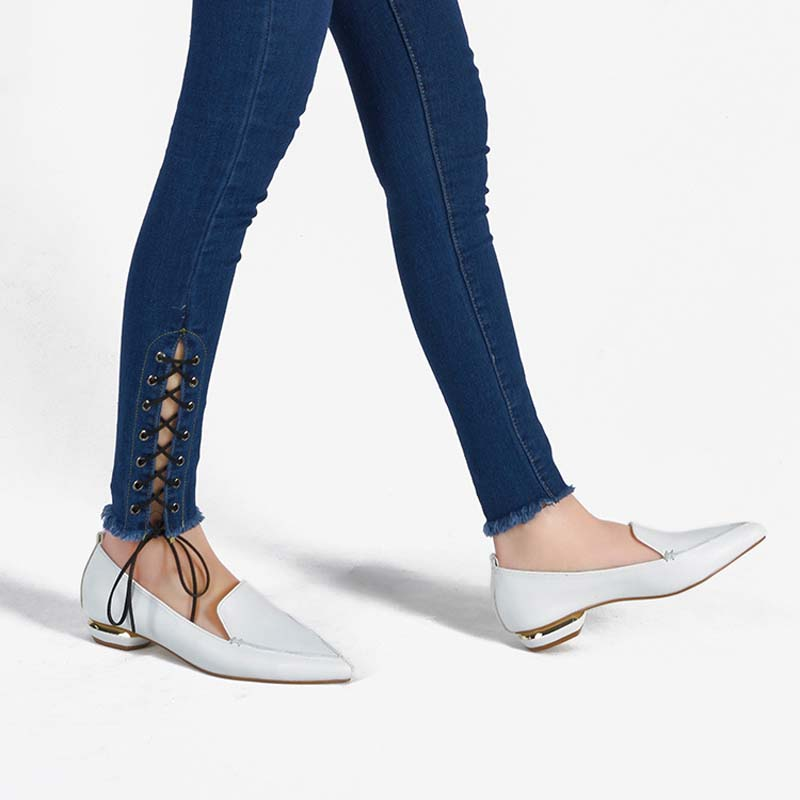 Jookrrix 2018 Spring Girl Fashion Brand Lady White Shoe Women Flats Real Leather Pointed Toe Loafer Female Leisure Single Shoes