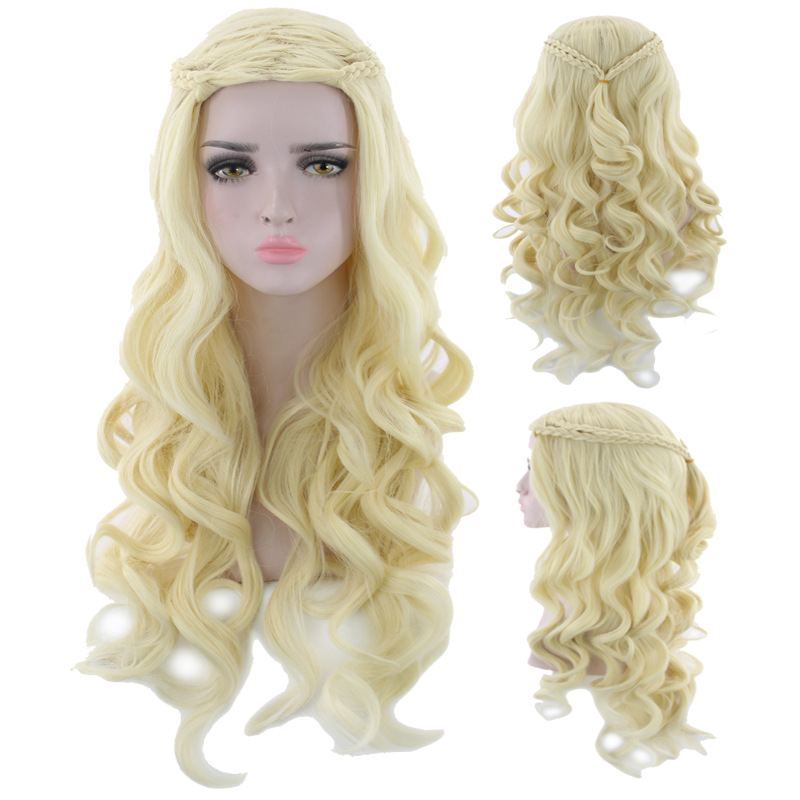 Daenerys Targaryen Cosplay Wig Game Of Thrones Synthetic Hair Long Wavy Dragon Of Mother Wigs Halloween Party Costume For Women
