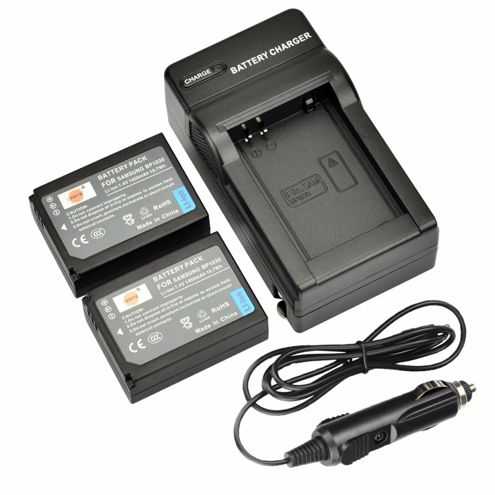 DSTE 2PCS BP1030 BP-1030 Rechargeable Battery + Travel and Car <font><b>Charger</b></font> for <font><b>Samsung</b></font> NX200 NX300 <font><b>NX1000</b></font> NX210 NX2000 NX300M NX500 image