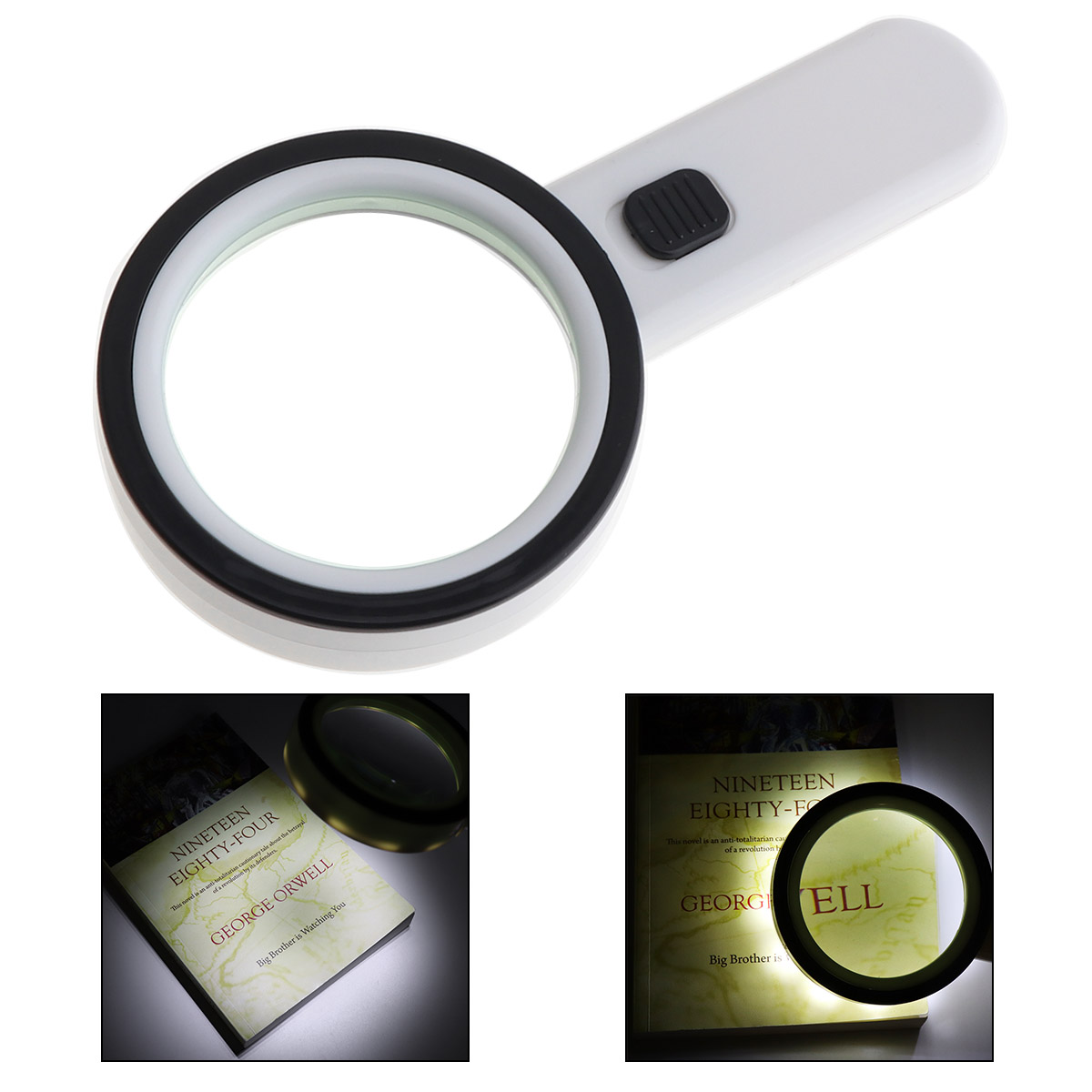 Sale 80MM Effective Diameter 30X Handheld Optical Glass Magnifying with 12 LED Light for Antique Appreciate Reading ...
