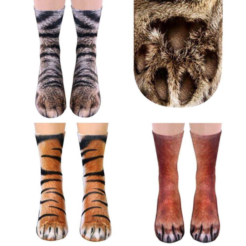 Fashion 3D Animal Paw Feet Crew Socks Foot 23-27cm Animals Dog Dinosaur Donkey Elephant Eagle Cat Tiger Zebra Pig Horse Hoof Paw
