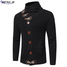 Men's ox horn button knit cardigan, thick and loose size, knitted sweater, sweater winter stand collar, high quality