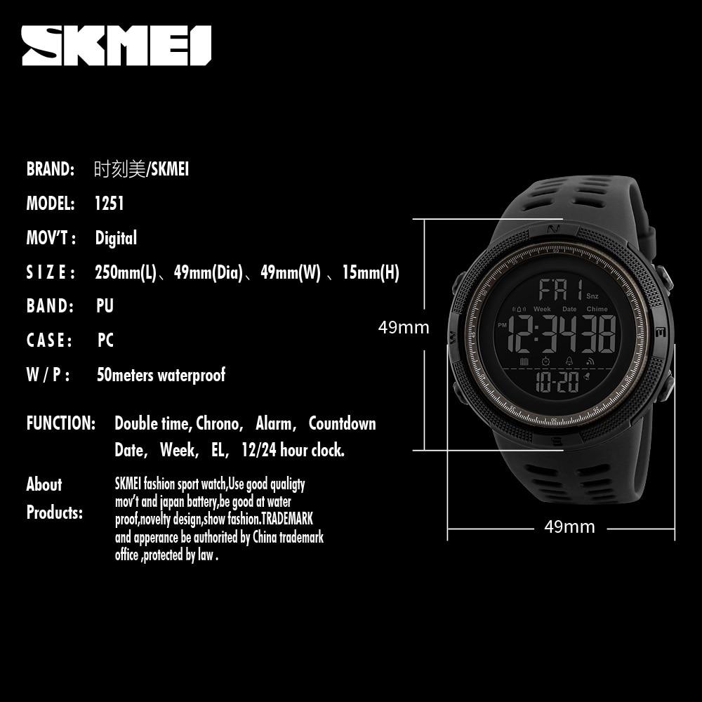 SKMEI Brand Men Sports Watches Fashion Chronos Countdown Men's Waterproof LED Digital Watch Man Military Clock Relogio Masculino 10