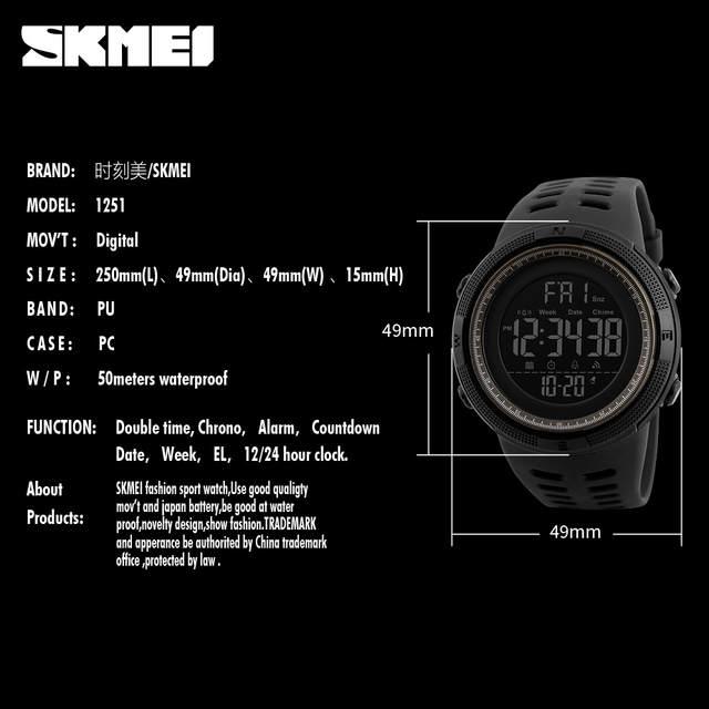 2c1f10d8106 SKMEI Marca Homens Esportes Relógios Moda Homem dos homens À Prova D  Água  LED Relógio