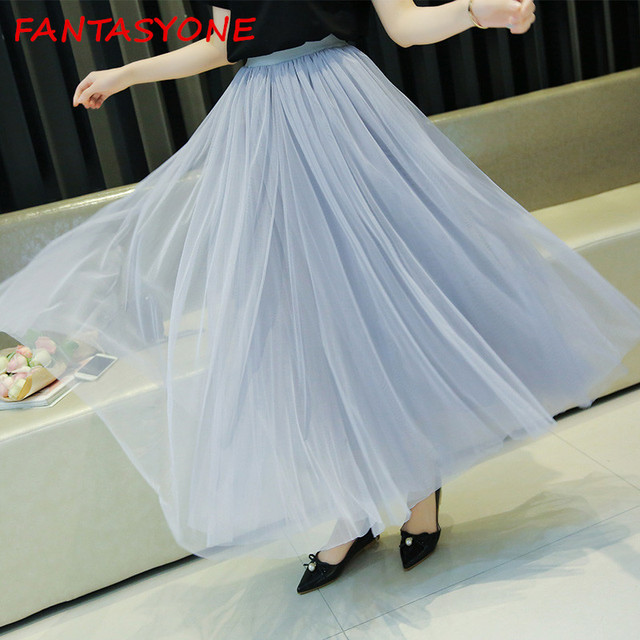 1800bb5a6 FANTASYONE Fashion Skirt Faldas Korean style Big Swing Maxi Skirts Womens  Spring Autumn Winter Jupe 100cm Tutu Long Tulle Skirt