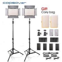 Capsaver tl-600s 2 unids LED video luz estudio foto fotografía Iluminación con trípode Control remoto 5500 K CRI 90 np-f550 batería