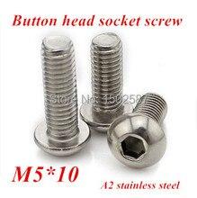 100pcs/lot M5*10 Bolt A2-70 ISO7380 Button Head Socket Screw/Bolt SUS304 Stainless Steel M5X10mm m8 bolt a2 70 button head socket screw bolt sus304 stainless steel m8 10 12 16 20 25 30 35 40 45 50 55 60 65 70 75 80 100 mm