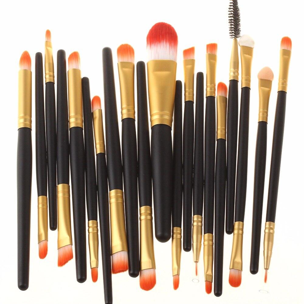 New Pro 20Pcs Cosmetic Brushes Set Eye shadow Eyeliner Lip Brush Tool makeup brushes black and white